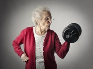 Senior Woman Lifting Dumbbell